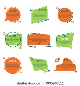 Different quote remark rames flat set vector