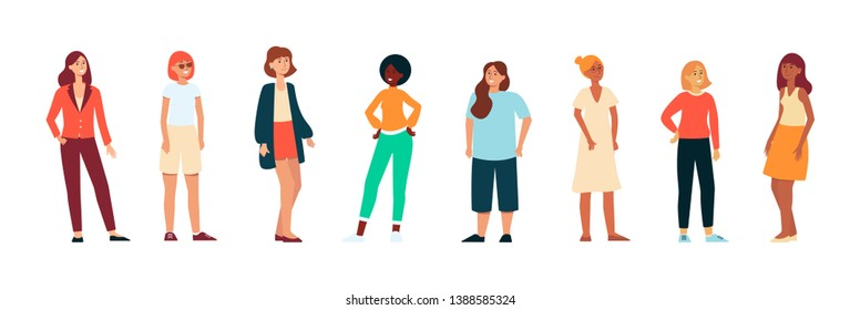Different races women standing and laughing in modern casual cloth background. International group ethnicity diversity of people concept flat vector illustration isolated on the white background.