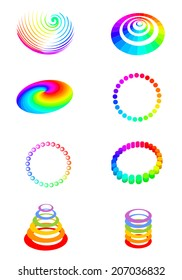 different rainbow-colored elements
