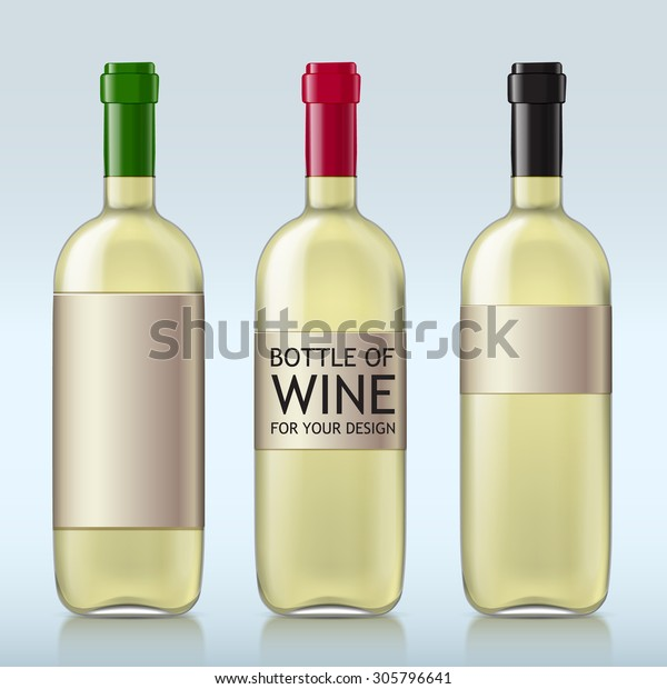 Different realistic glass bottles with white wine. This set of bottles with different covers closed ready for your design template. Vector illustration