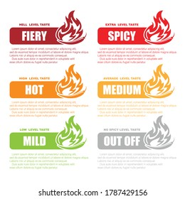 Different red chilli pepper silhouettes for food spicy level identification. Sample text and symbol with different colors