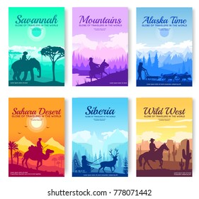 Different riders of the world vector brochure cards set. Colorful landscape template of flyear, magazines, poster, book cover, banners. invitation concept background. Layout illustration modern page