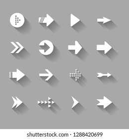 Different Right facing Arrow Shape Icons Collection