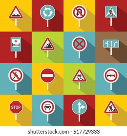 Different road signs icons set. Flat illustration of 16 different road signs vector icons for web