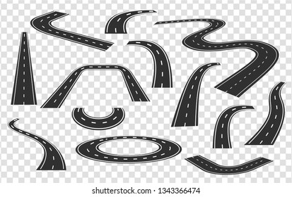 Different roads in perspective set. City highways. Curved and straight city road collection.