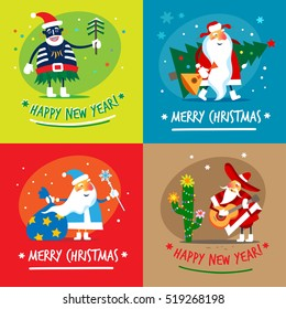 Different Santa Clauses. Merry Christmas. Vector illustration