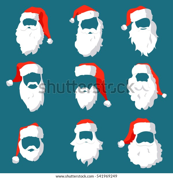 Different Santa Hats Moustache Beards Template Stock Vector