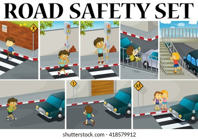 Different scenes with road safety illustration
