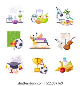 Different School Classes And Activities Related Sets Of Objects