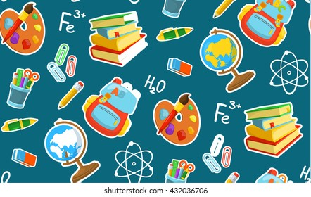 Different school objects. Bright seamless pattern. Eps 10 vector illustration.