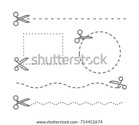 different scissors cut lines template vector stock vector royalty