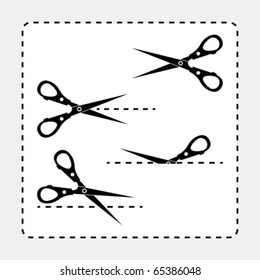 Different scissors silhouettes with cut out line guides