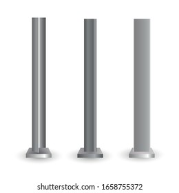 Different shape and form metallic pillars or columns screwed with bolts. The steel element of the truss beam.Vector illustration