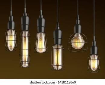 Different shape and size hanging, vintage incandescent light bulbs with heated wire filament and lattice wire cage realistic vector set. Outdoor lamp, garage and carport lighting glowing in darkness