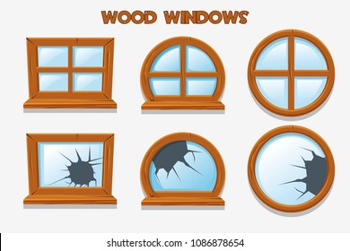 Different shape and vector old shattered wood windows, cartoon building objects. Element home Interiors