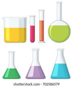Different shapes of beakers illustration