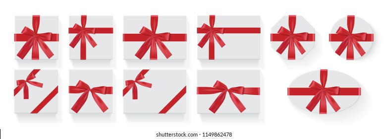 different shapes of boxes with a red bow Vector