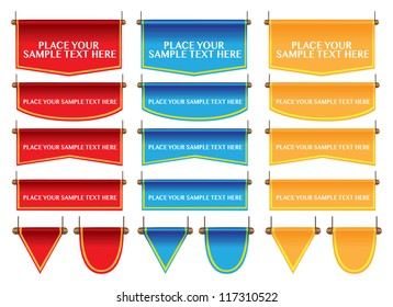 Different shapes of flag/banner in three colors and own area for copy. Vector illustration.