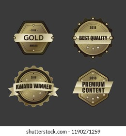 Different shapes Golden prize badge pack - Award winner, quality, premium content.