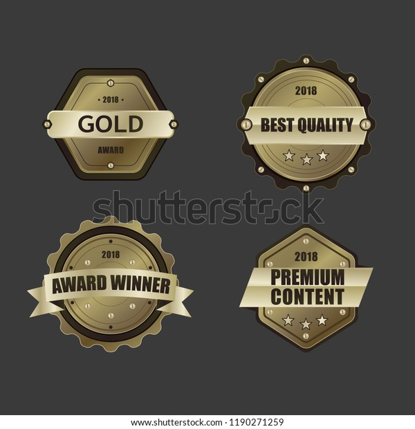 Different Shapes Golden Prize Badge Pack Stock Vector (Royalty Free