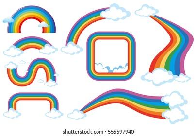Different shapes of rainbow illustration