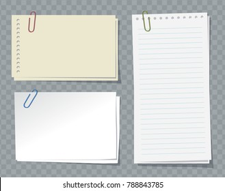 Different sheets of note papers and paper clips on transparent background.