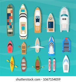 Different ships and boats set, top view.  Water transport collection.  Vessels isolated on blue background.