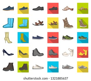 Different shoes cartoon,flat icons in set collection for design. Men's and women's shoes vector symbol stock web illustration.