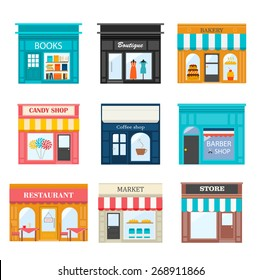 Different shops and stores icons set. Includes books, candy, barber, coffee shop, boutique, bakery, restaurant,  market