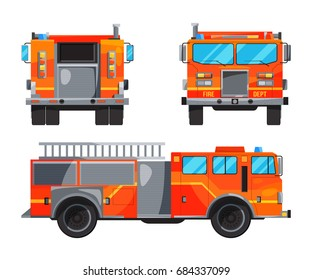 Different sides of fire truck. Specific professional car for fireman