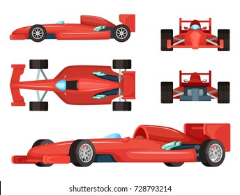 Different sides of sport cars. Vector illustration isolated. Car speed