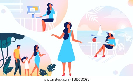Different Sides of Womens Life. Family, Career, Leisure. Femininity, Independence, Separation, Diversity of Duties and Roles of Modern Girl. Mother, Employee, Tourist. Cartoon Flat Vector Illustration