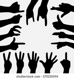 Different sign by hands. Silhouettes of hands