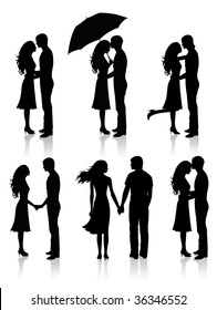 Different silhouettes of couples.