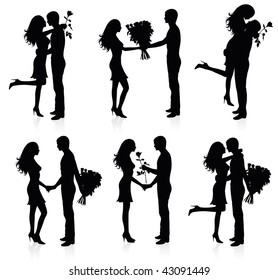 Different silhouettes of couples with flowers.