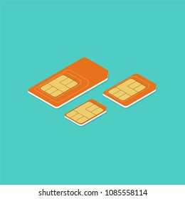 Different sim card types. Isometric illustration. Vector