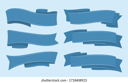 Different simple blue ribbons set. Vector illustration