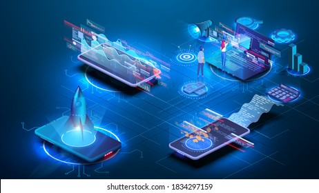 Different situations, people interact with charts, with a mobile phone and a computer, launch a startup. Data Analysis, Strategy, Investment and Accounting, mobile banking. Data visualization concept