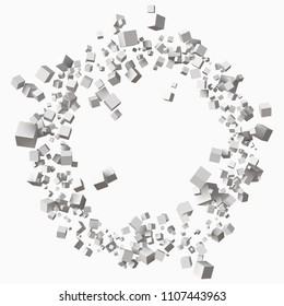 different size white cubes in circular orbit. 3d style vector illustration