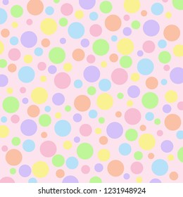 Different sized pastel polka dots on a light pink  vector background.