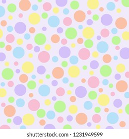 Different sized pastel polka dots on a light purple vector background.