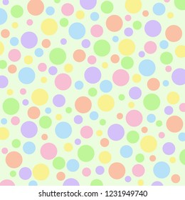 Different sized pastel polka dots on a light green vector background.