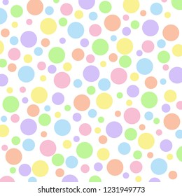 Different sized pastel polka dots on a white vector background.