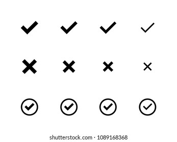 Different sizes of Check Mark icons flat vector