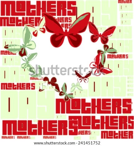 Different Sizes Mothers Day Words Butterflies Stock Vector (Royalty