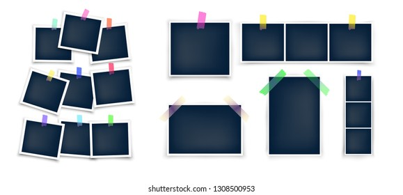 Different sizes photo frames mockup glued with color tape . Realistic empty templates.  Vector