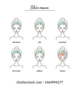 Different skin problems, dark circles, acne, blackheads, dryness, wrinkles, rosacea. Line vector illustration, design template.