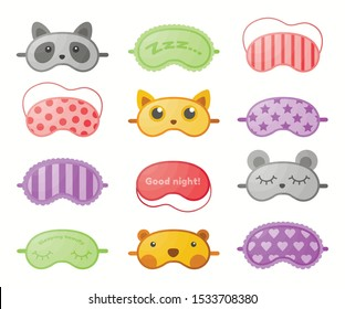 Different sleep masks flat vector illustrations set. Eye protection accessories design elements collection. Relaxation blindfolds color cliparts isolated on white. Health care and wellbeing