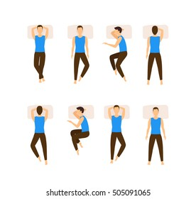 Different Sleeping Poses Set. Vector illustration of young cartoon flat man sleep composition. Boy in pillow top view in bed, different position, back, side, pain, posture for better