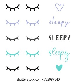 Different sleepy eyes illustrated, color in vector adjustable, design your own sleepy sign